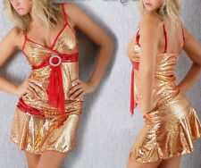 SeXy Gogo metallic Lack Look 2 Teiler Glamour Mini Rock Top XS-S rot gold