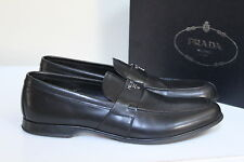 NIB sz 12 US / 11 UK Prada Black Leather Logo Slip on Loafer Men's Dress Shoes