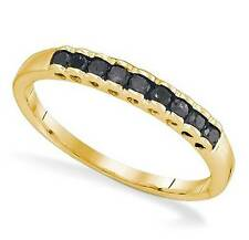 Stackable! 100% 10K Yellow Gold Genuine Black Diamond Ring Band - .25ct