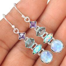 Rainbow Moonstone & Blue Topaz 925 Silver Earrings Jewelry EE16257