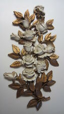 Vintage 1973, Homco Gold & White Roses Wall Plaque /Wall Hanging, 21 1/2 x 11 in