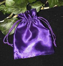 Purple Satin Drawstring bag for charms, spells, crystals, jewellery, gifts
