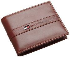 New Tommy Hilfiger Men's Tan Leather Bifold Ranger Passcase Wallet