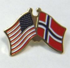 NORWAY UNITED STATES US COMBO NATIONAL FLAG PIN BADGE 1 INCH