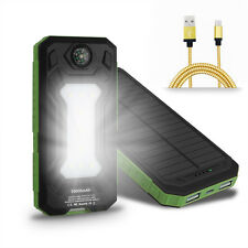 US Waterproof 50000mAh 2USB Solar Power Bank 9LED Pack Battery Charger & Compass
