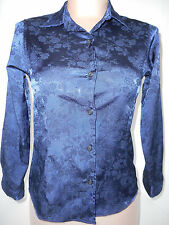 Versace Young Junior Girls Button Front Long Sleeve Blouse Shirt Blue S Small 10