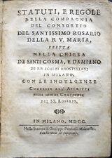 1700 – STATUTI E REGOLE DELLA COMPAGNIA DEL SANTISSIMO ROSARIO, RELIGIONE MILANO
