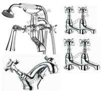 Victorian Traditional Chrome Bathroom Basin - Bath Shower Mixer Tap Filler Taps