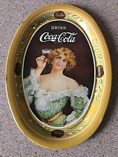 Vintage 1906 Coca Cola Company Lady Metal Tip Collectible Tray Raising Glass 6""