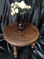 Vintage French Coffee Centre Table Embossed Leather Top Handmade