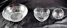 Lot of 3 Pressed Glass Dishes Serving Bowl Heart Shaped & Swirled Candle  CC6Y5