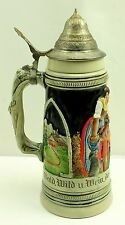 "West Germany 11"" vtg Lidded Stein Hunting Dogs Puppies 1205 Jagers Wappen Fein"