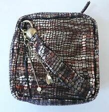 Hobo International Samantha Wristlet Clutch Multi-Color Metallic Mosaic Leather