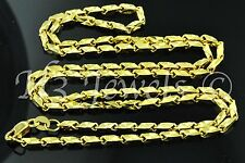 18k solid yellow gold slanted box diamond cut chain necklace 20 inches #698