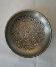 "EIK Norwegian 6"" Pewter Acanthus Rosemaling Bowl Norway"