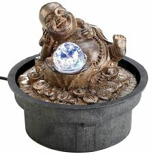 Soothing ** HAPPY BUDDHA w/ LIGHT-UP LED BALL TABLETOP WATER FOUNTAIN ** NIB