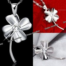Silver 925 Heart Clover Love Diamond Necklace Christmas Gifts for Her Girls RF1