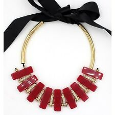 MARNI FOR H&M RED GOLD ELEMENTS NECKLACE - NEW ADJUSTABLE TIE
