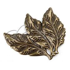 54x23mm 20Pcs Antique Bronze Tone Wrap Connector Leaf Shape Alloy Charms