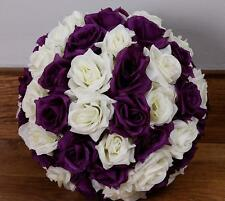 Purple & Ivory Rose Flower Pomander Wedding Kissing Ball 16 inches USA Seller