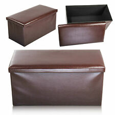 2 SEATER DOUBLE LARGE FOLDING STORAGE FAUX LEATHER OTTOMAN POUFFE SEAT STOOL BOX