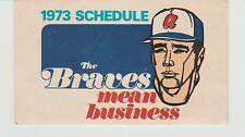 VINTAGE 1973 ATLANTA BRAVES BASEBALL POCKET SCHEDULE