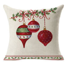 Christmas Linen Square Throw Flax Pillow Case Decorative Cushion Pillow Cover H