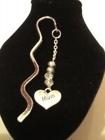 Book mark mum silver plated with 4 crystals