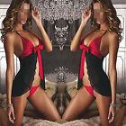 New Women Bow Lingerie Dress Underwear Sleepwear Nightwear Babydoll+G-string Set