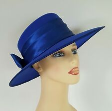 Ladies Wedding Hat Races Ascot Royal Blue Satin Band Rear Bow