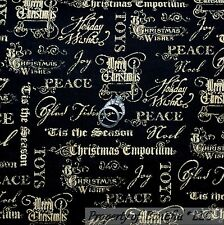 BonEful Fabric Cotton Quilt  Black Gold Xmas Word Peace S Religious Calico SCRAP