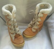 Womens Vintage Cabelas Shearling Suede Mukluks Boots Brown Leather Gum 7 Canada