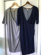Lot of 2 NEW Old Navy Maternity Wrap Dresses Gray & Navy Print Size Medium NWT!