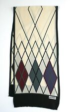 Jaeger vintage silk scarf - Argyll Print - Cream / Burgundy / Black - Long