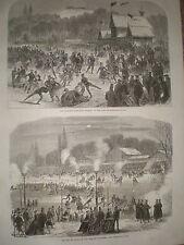 Patinage bois de boulogne paris france 1867 old print ref Y4