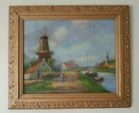 """Dutch Oil Canal and Windmill Scene on Board signed 24"""" x 20"""""""