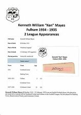 KEN MAYES FULHAM 1934-1935 VERY RARE ORIGINAL HAND SIGNED CUTTING/CARD