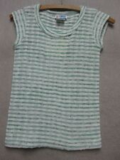 W3069 College Town Green/White Striped Cap Sleeve Poly Knit T-Shirt Women XS