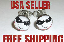 NEW! Dark Knight Batman Joker Comic Logo Stud Earrings Stainless Steel FREE SHIP
