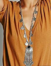 Best Silver Long Tassel Pendant Coin Necklace Turkish Ethnic Party Festival Gift