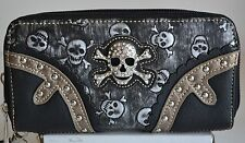 BLACK SILVER GRAY SKULL RHINESTONE BLING WOMEN ZIP COIN CLUTCH WALLET PURSE NEW
