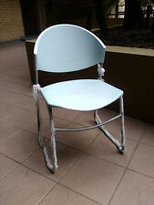 Assembled Oliver Sled Base Plastic Seat Stacking Chairs - Grey