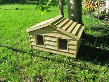 SMALL DUPLEX  INSULATED CEDAR CAT HOUSE SHELTER