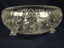 Crystal Glass Bowl American Brilliance Pinwheel Pattern Footed Large Bowl #23
