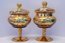 Two VERY RARE (One Signed) Fratelli Toso Golden Enameled Venetian Glass Jars