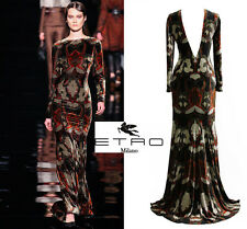 NEW $6,242 ETRO RUNWAY VELVET PRINTED DRESS GOWN 44 - 10