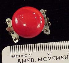 Vintage 15mm Necklace 4 Strand Clasp Connector Japan Red Slag Glass Bead