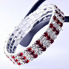 Fashion Womens White Gold Plated Silver 3-Row Red Ruby Crystal Bracelet