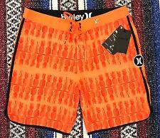 New Hurley Phantom Hala Kahiki Board Shorts Swim Trunks Surf Orange Sz 33 $65