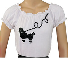 New 50s Style White Peasant Blouse with Poodle for Poodle Skirts _ Adult Size XL